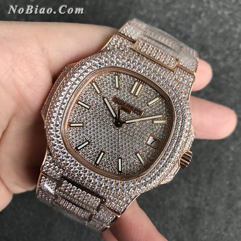R8厂百达翡丽鹦鹉螺满天星V3玫瑰金复刻手表