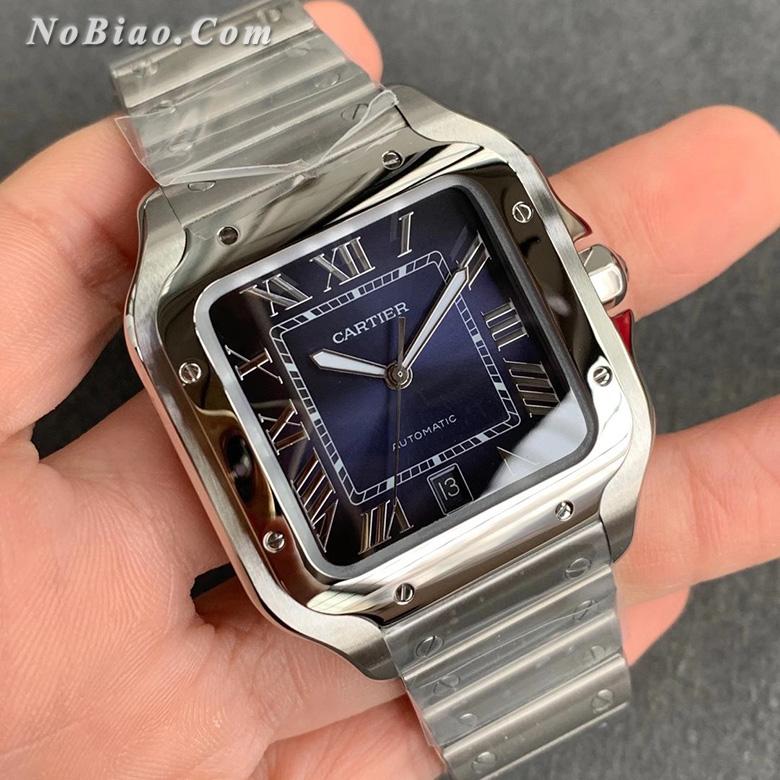 GF厂卡地亚山度士系列蓝面钢带款高仿手表
