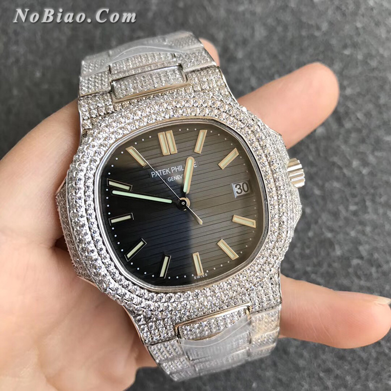R8厂百达翡丽运动优雅系列鹦鹉螺满钻款男士复刻手表