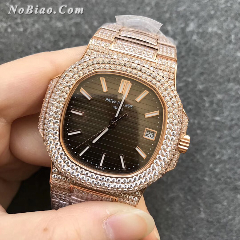 R8厂百达翡丽运动优雅系列鹦鹉螺金壳满钻款复刻手表