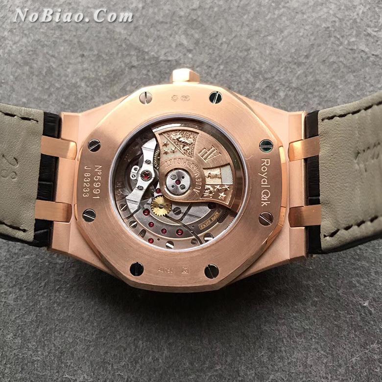 JF厂爱彼皇家橡树系列15400黑面皮带款金壳复刻手表