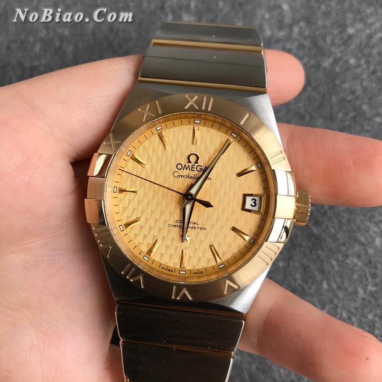 VS厂最强欧米茄星座系列男款38毫米123.20.38.21.08.002金面金壳菱形纹盘复刻手表