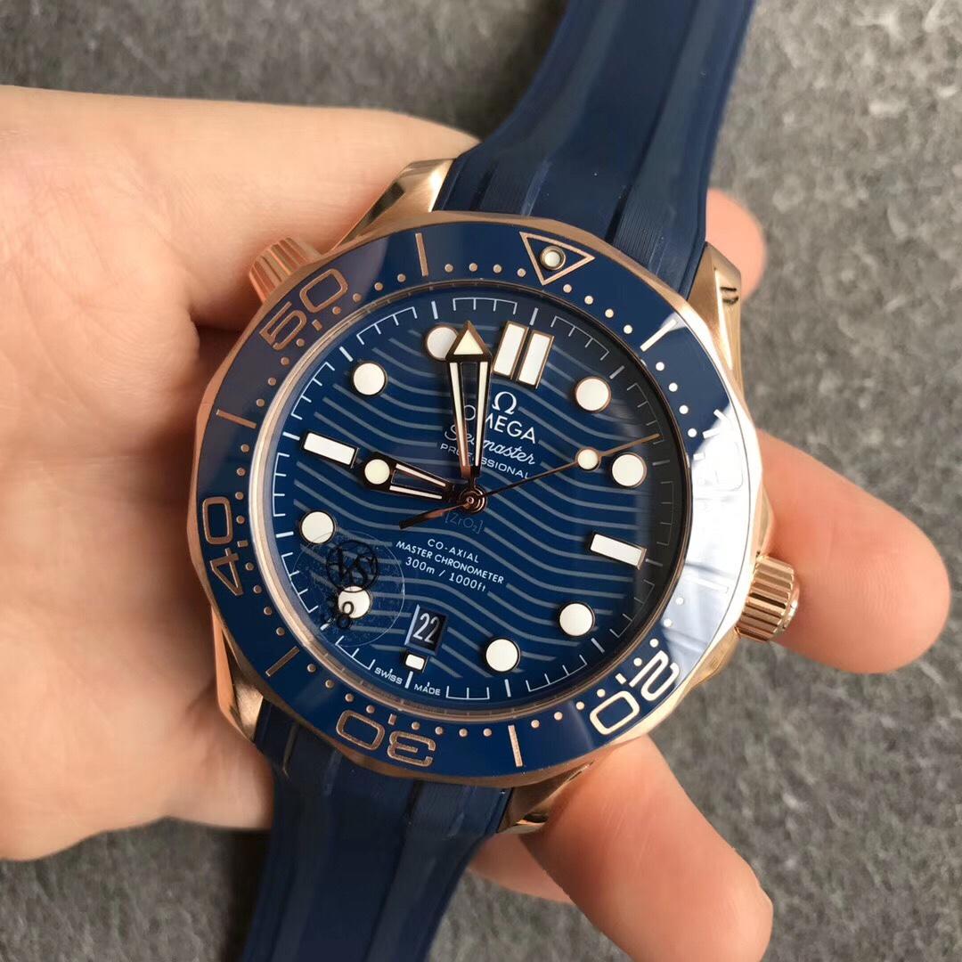 VS厂欧米茄新海马300M蓝面210.62.42.20.03.001全玫金复刻手表