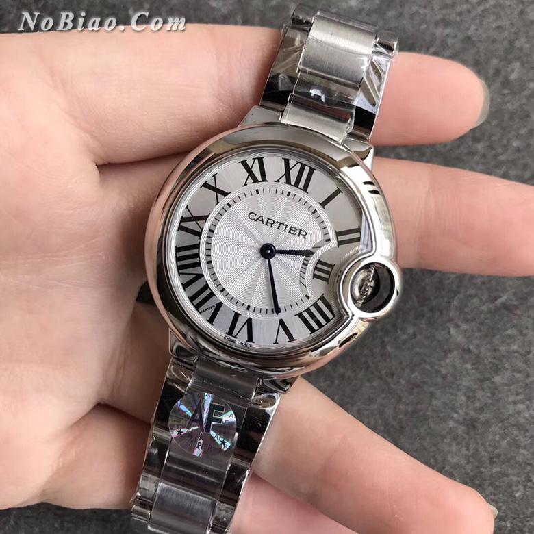 AF厂卡地亚蓝气球33毫米白面钢带石英版复刻手表