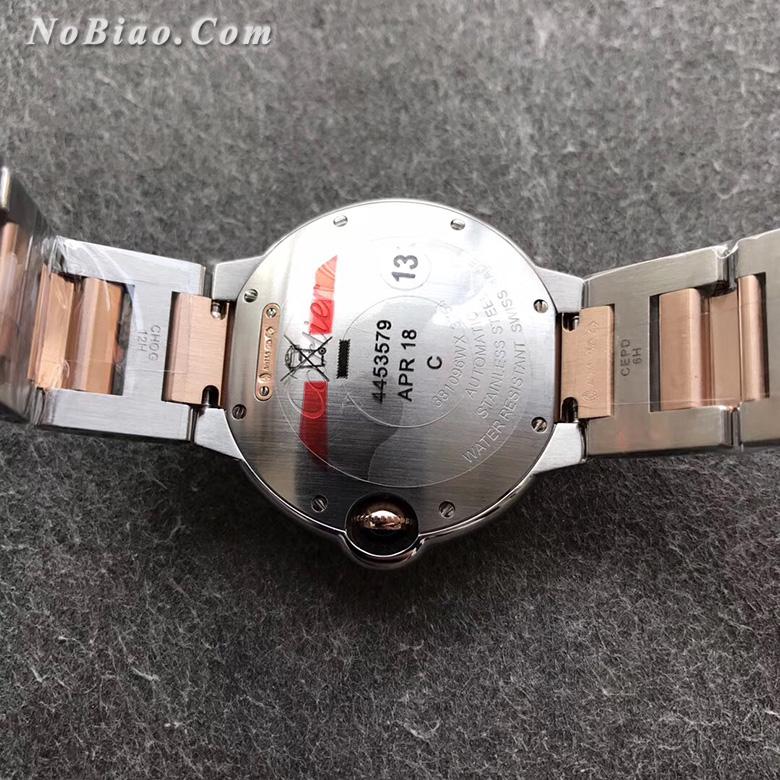 V6厂卡地亚蓝气球36毫米玫金圈女款复刻手表