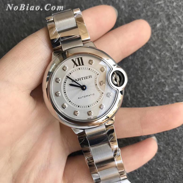 V6厂卡地亚蓝气球33毫米WE902074钻丁两针女款复刻手表
