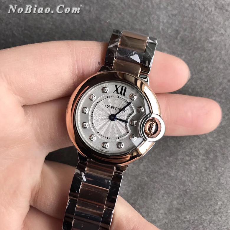 V6厂卡地亚蓝气球28毫米玫金圈女款复刻手表