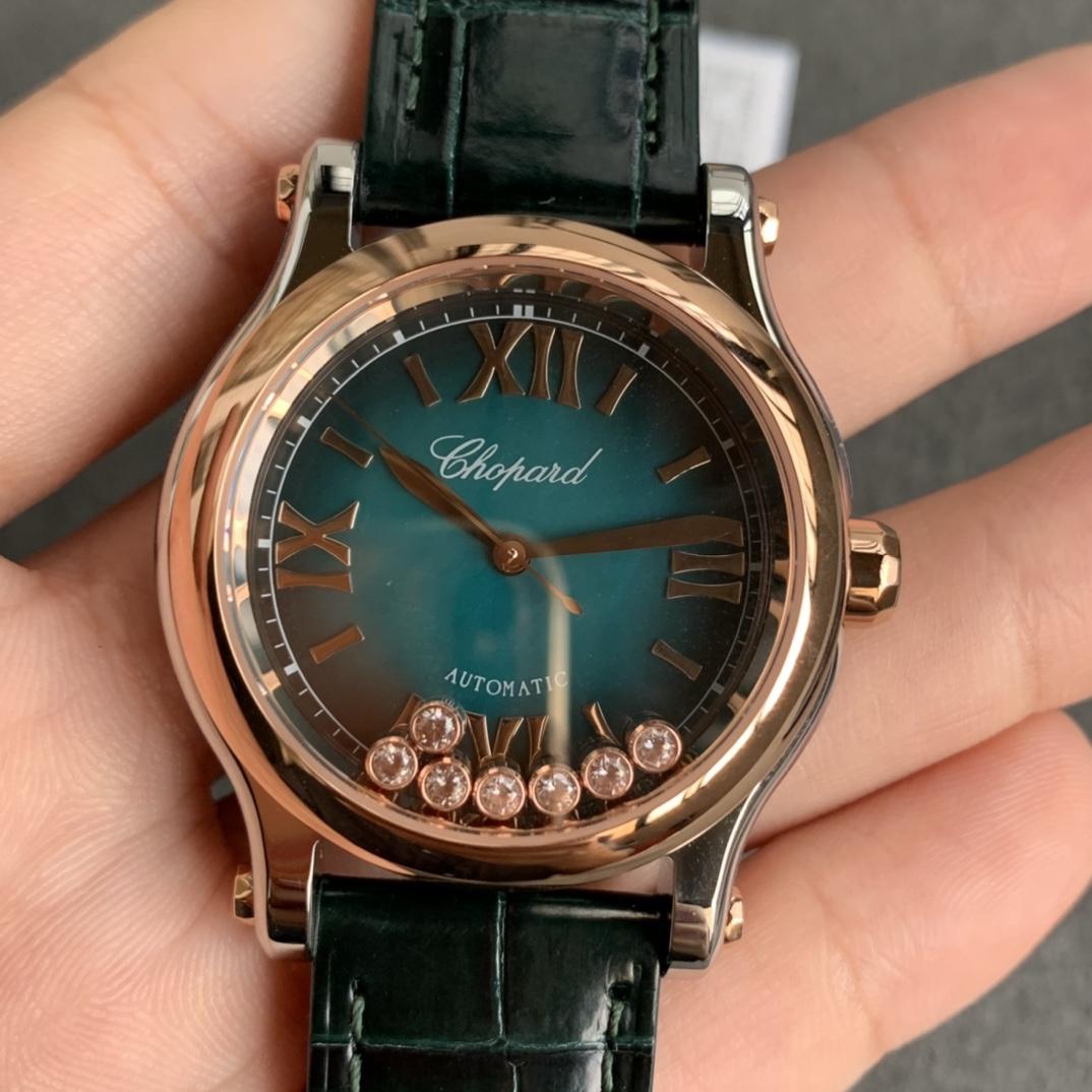 YF厂萧邦Happy Sport快乐钻石系列烟熏面蓝面皮带款复刻手表